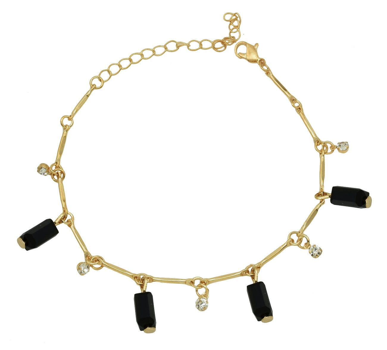 High Trendz Trendy Light Weight Gold Plated Anklet With Hanging Black Crystal For Women And Girls