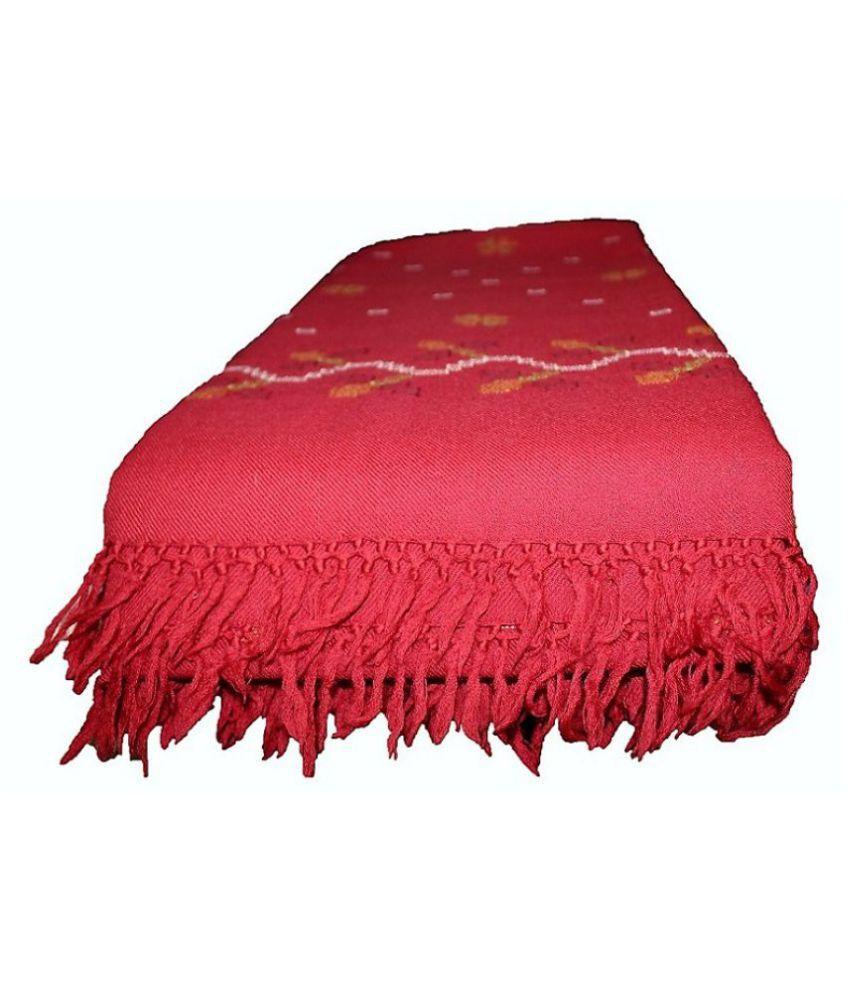 HimalayanKraft Red Loom-Woven Shawl