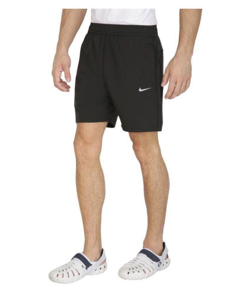 Nike Black Polyester Lycra Traveling Shorts