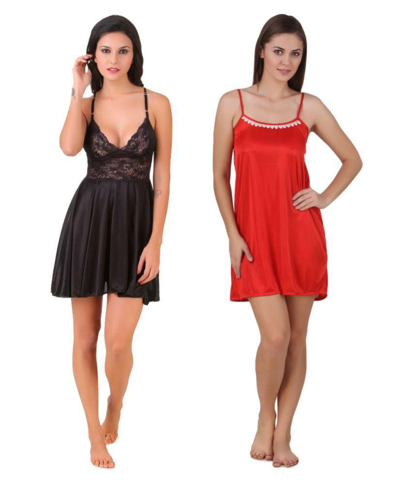 keoti Satin Baby Doll Dresses Without Panty - Multi Color