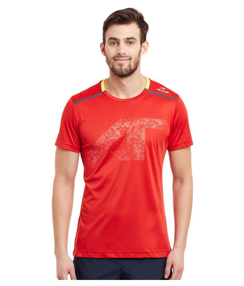 Alcis Men Printed Red Tee