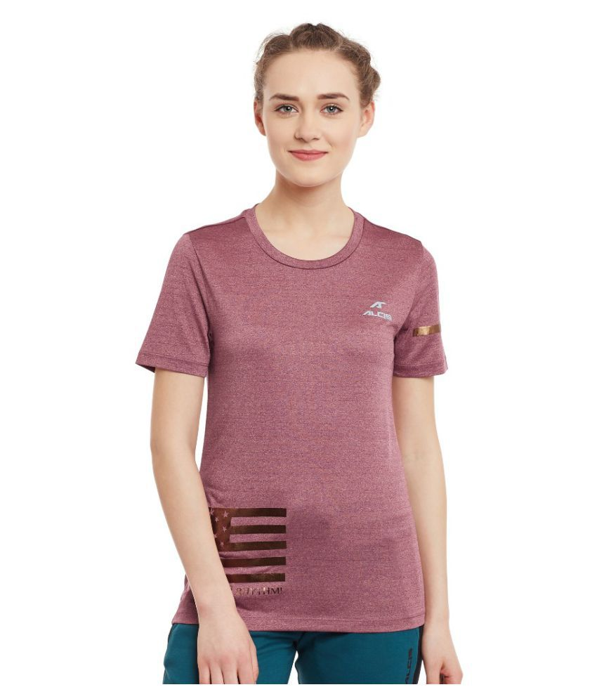 Alcis Women Solid Purple Tee