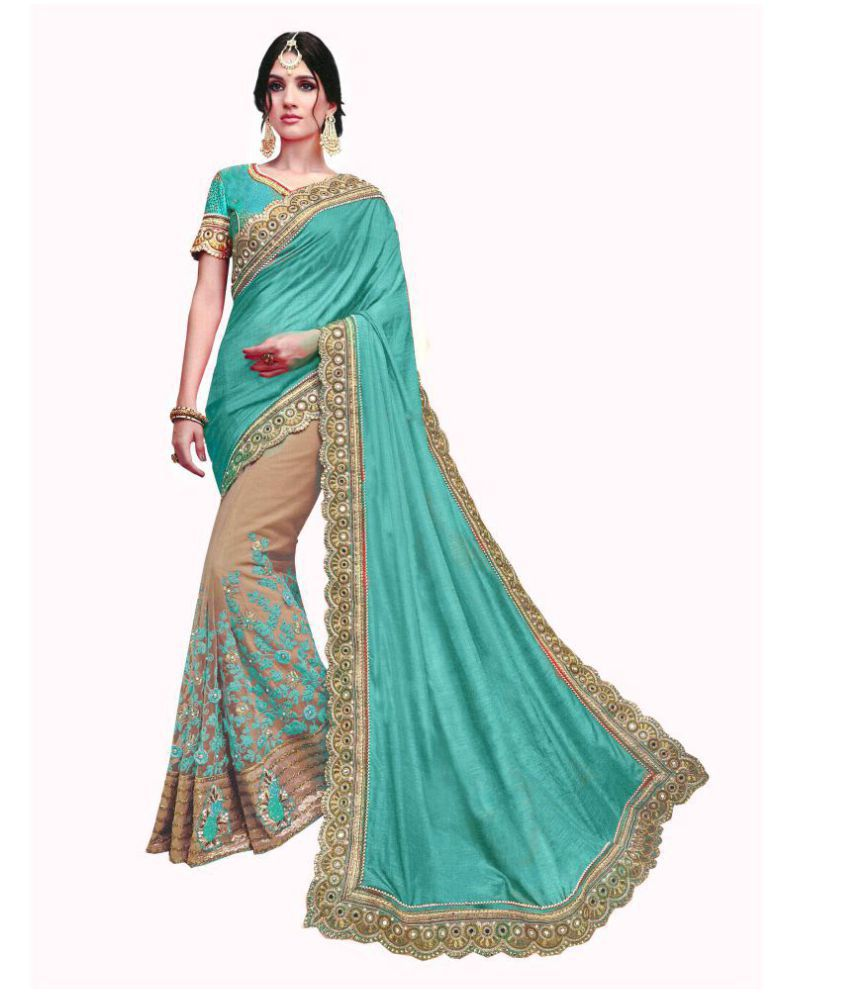 Fashion Founder Turquoise Georgette Saree