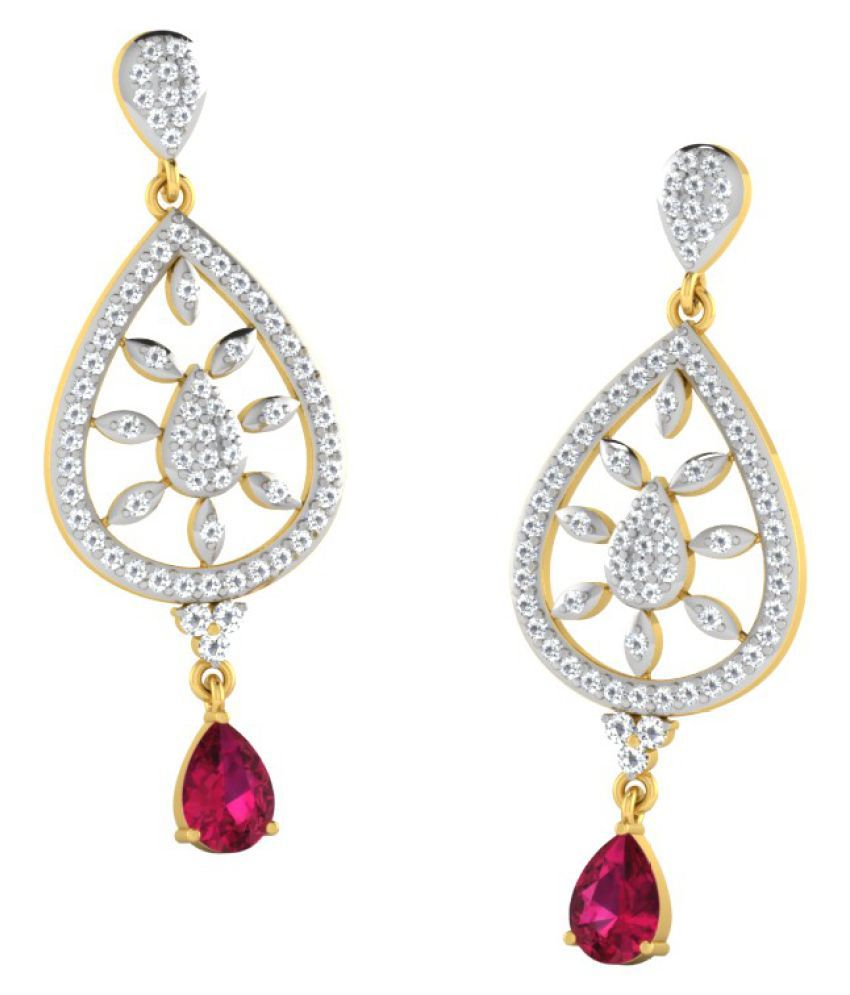 His & Her 14k Yellow Gold Ruby Drop Earrings
