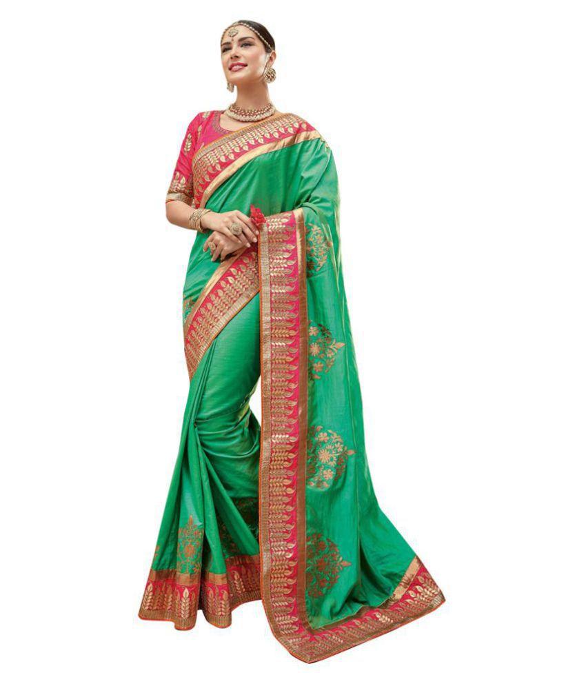Raghav Trendz Green Paper Silk Saree