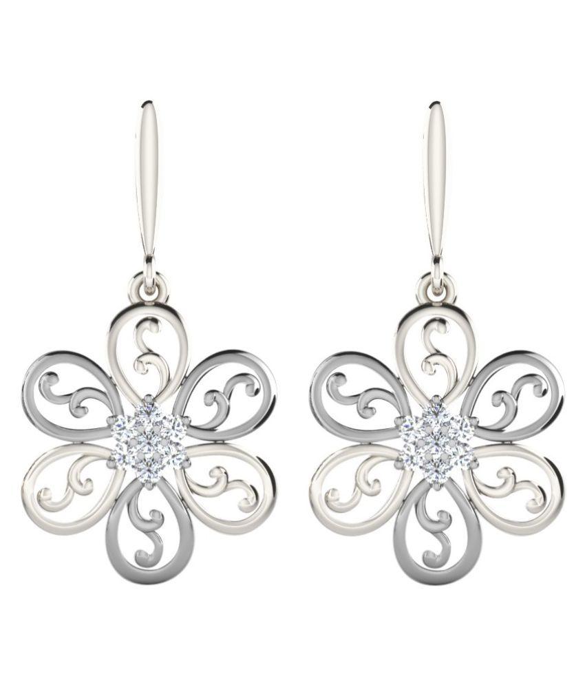 His & Her 14k White Gold Diamond Drop Earrings