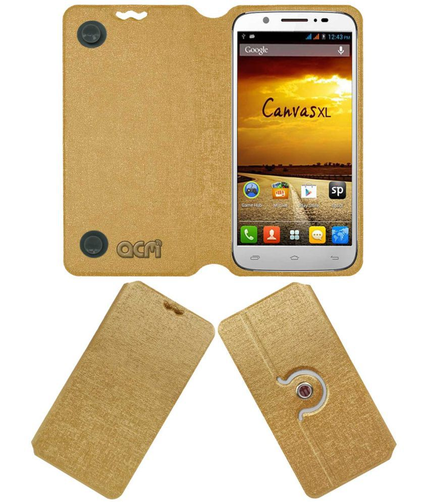 Micromax Canvas A119 XL Flip Cover by ACM - Golden