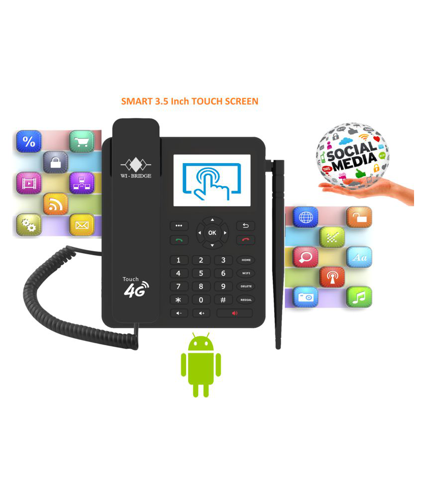 wi-bridge RM4G234 Wireless GSM Landline Phone ( Black ) 4G VOLTE Industry  1st FWP with Touch Screen