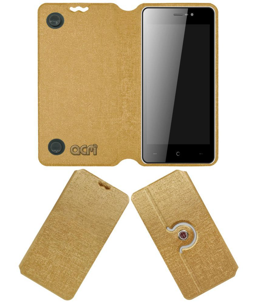 Intex Cloud Zest Flip Cover by ACM - Golden