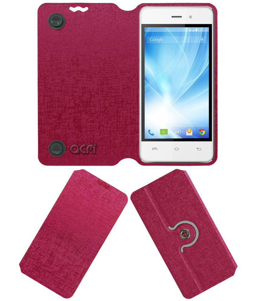 Lava Iris Fuel F1 Mini Flip Cover by ACM - Pink