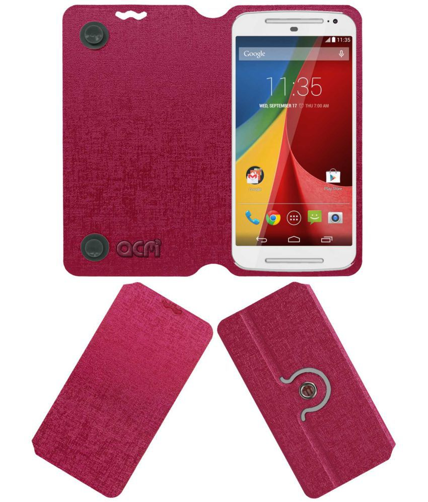 Moto G Flip Cover by ACM - Pink