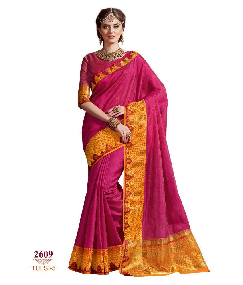 Ashika Pink Tussar Silk Saree