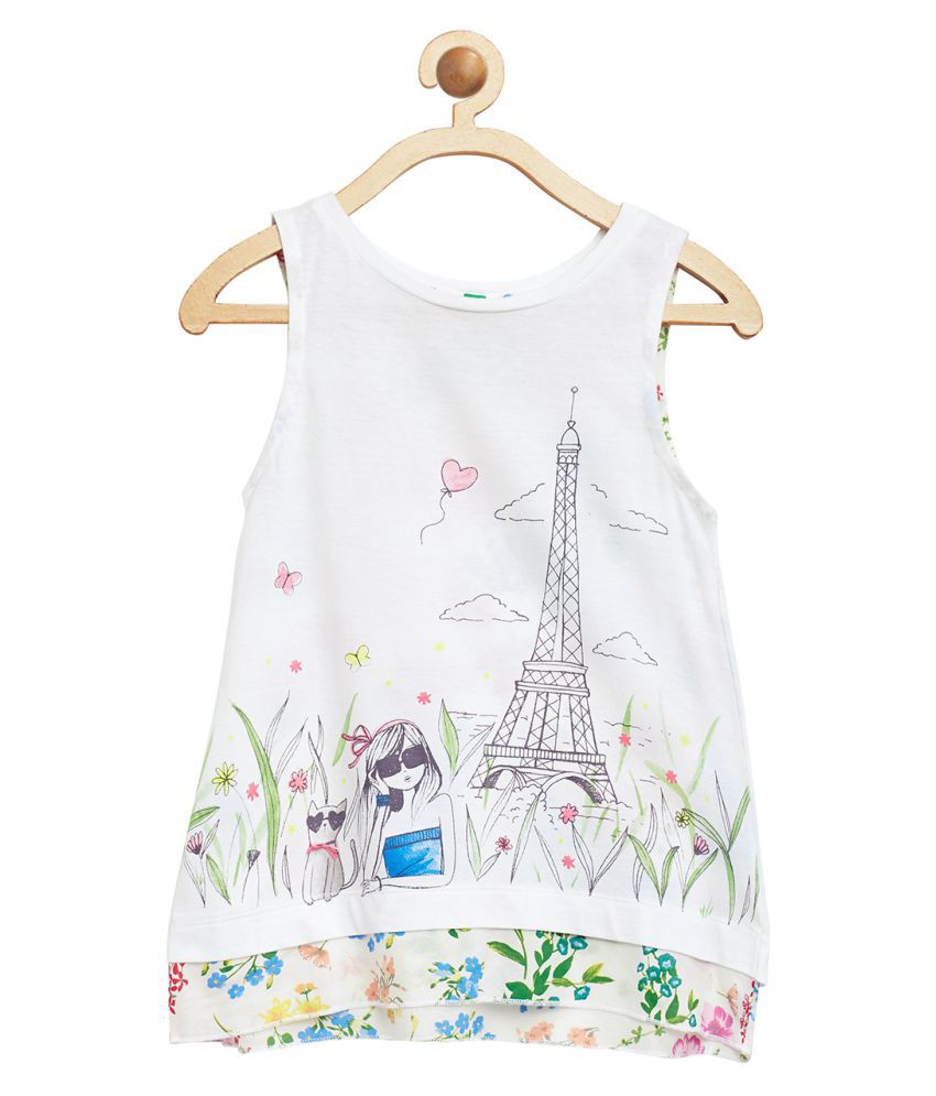 United Colors of Benetton White Tee With Back In Printed Woven Fabric - 16P3P7XC12RSG1011Y