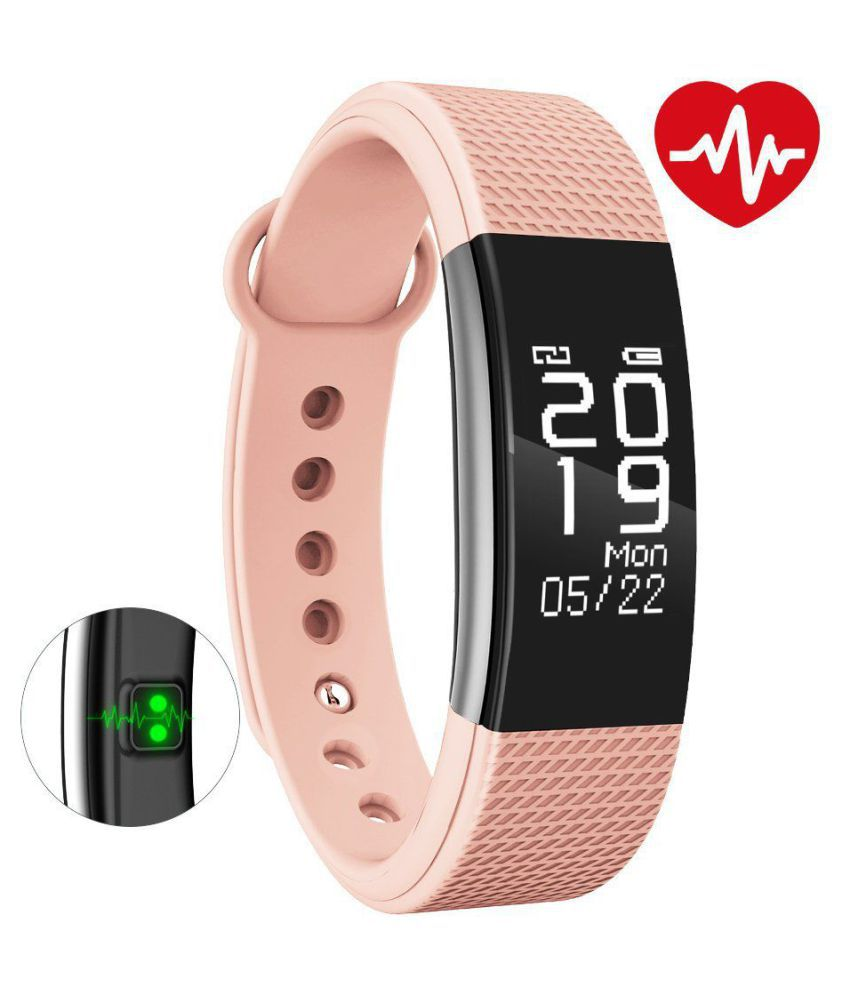 Bingo Fitness Band F2 Waterproof, Heart Rate, Touch Display with Smart Button, Call & MSG Alart, Compatible With Android And iOS (Pink)