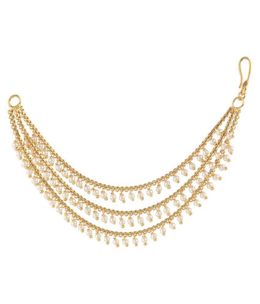6ba6fb8e4 Pourni exclusive Designer 3 Pearl line chain Earring -PRERchain03 - Buy  Pourni exclusive Designer 3 Pearl line chain Earring -PRERchain03 Online at  Best ...