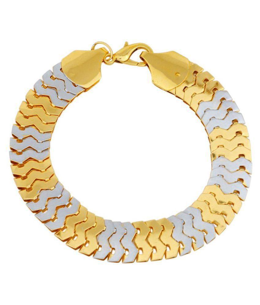 DzineTrendz Dual tone plated Python body pattern, both side wearable, super flexible, bracelet for Men Women Girls