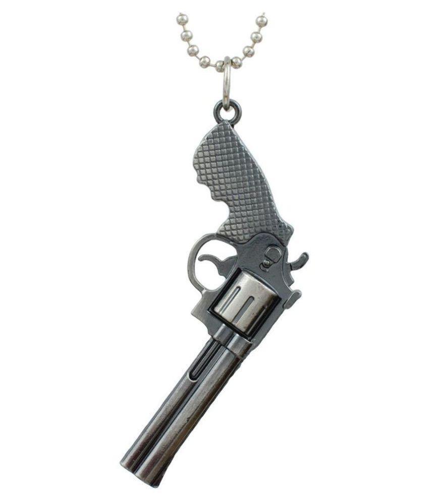 DzineTrendz Miniatture replica of Lord of War-Nicholas Cage inspired, Long double barrel revolver- handgun Fashion pendant with 24Inch long Steel Ball Fashion