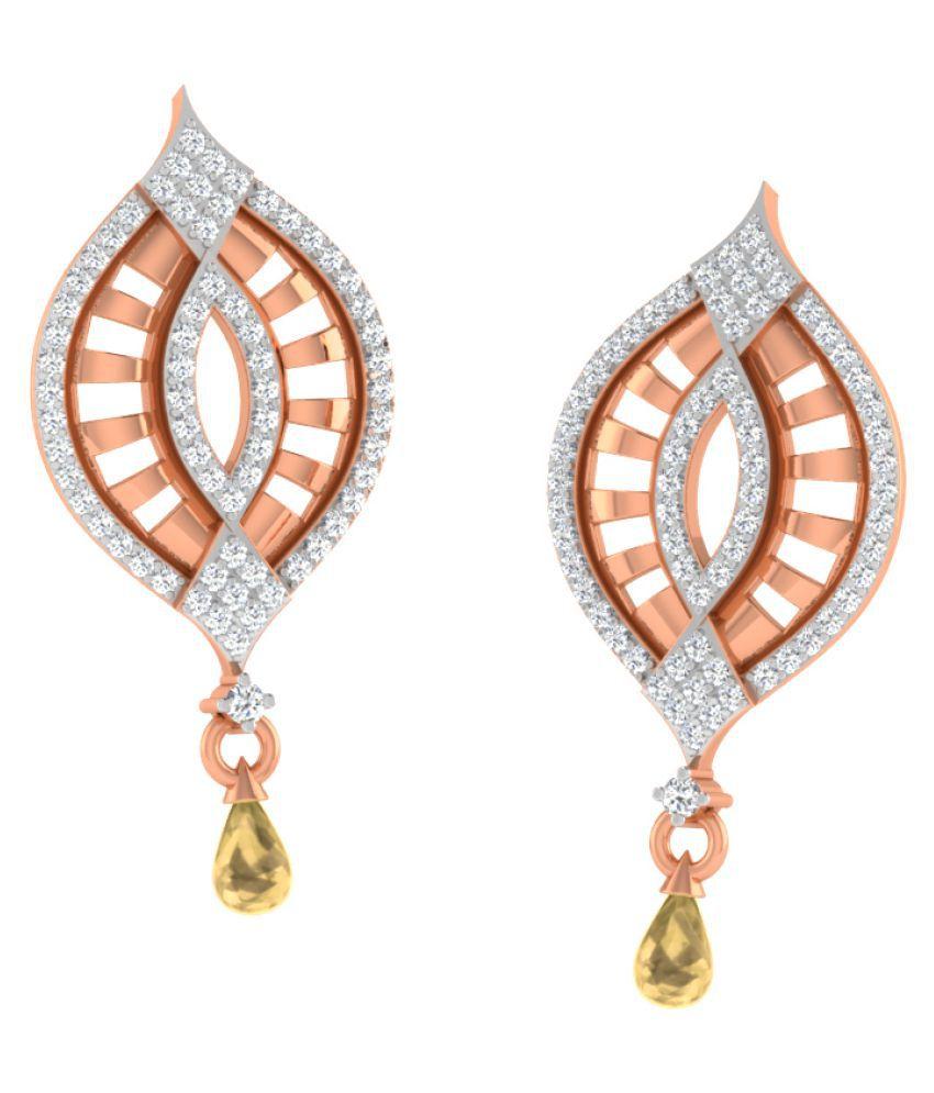 His & Her 9k Rose Gold Citrine Drop Earrings