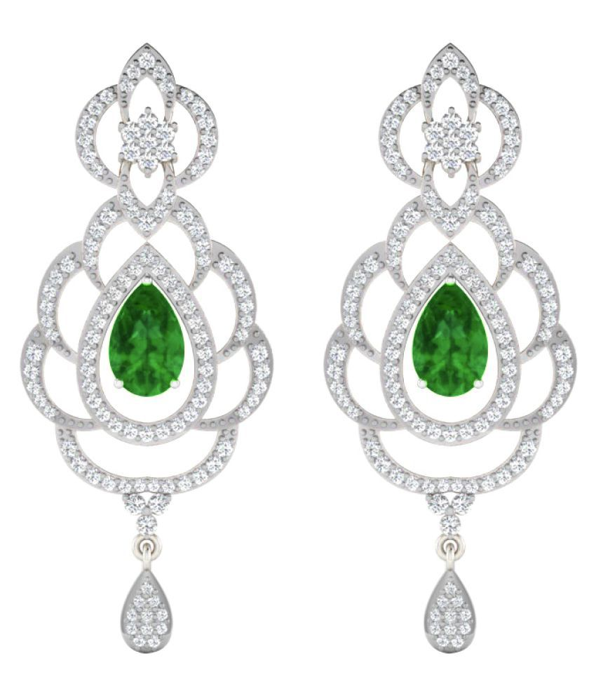 His & Her 9k White Gold Emerald Drop Earrings
