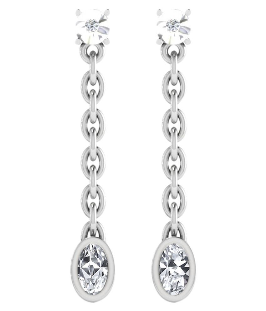 His & Her 9k White Gold Sapphire Drop Earrings