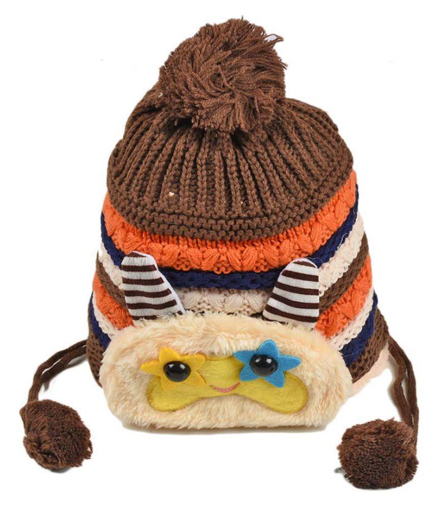 Tiekart Cute Funky Brown Winter Warm Woolen Cap for Kids