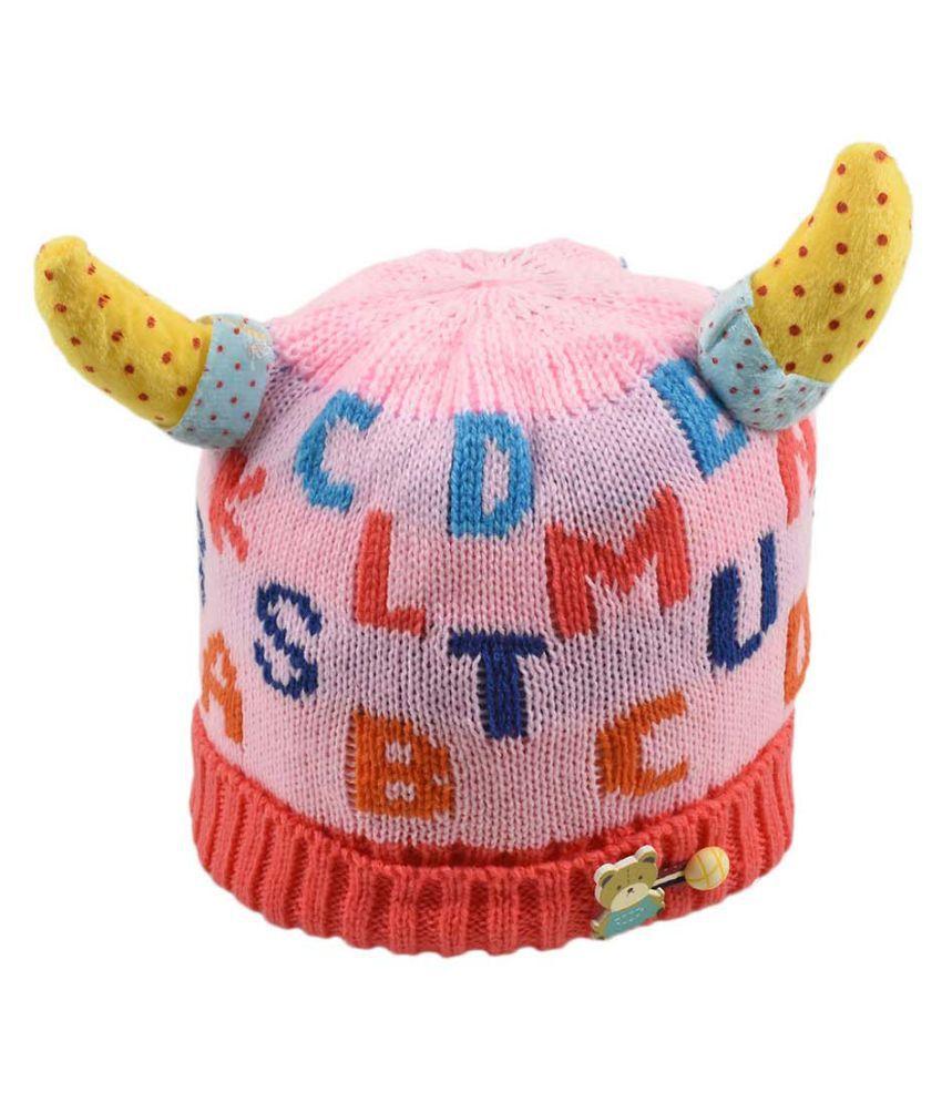 Tiekart Cute Funky Pink Winter Warm Woolen Cap for Kids