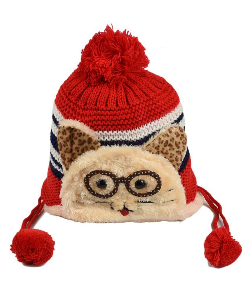 Tiekart Cute Funky Red Winter Warm Woolen Cap for Kids
