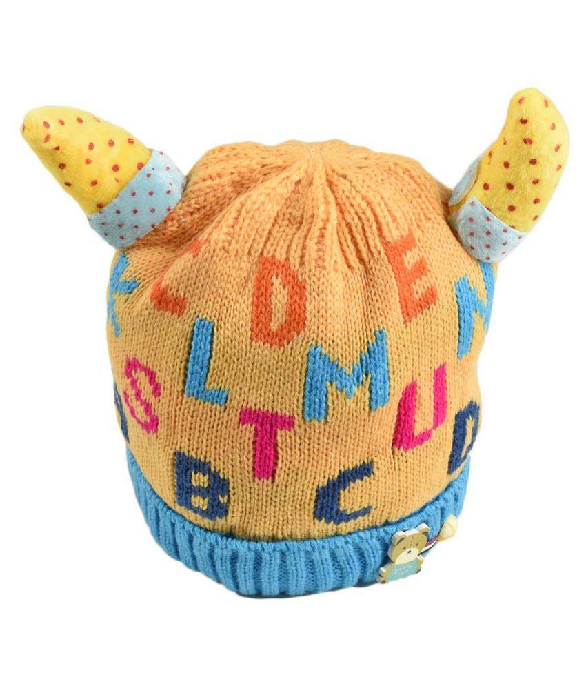 Tiekart Cute Funky Yellow Winter Warm Woolen Cap for Kids