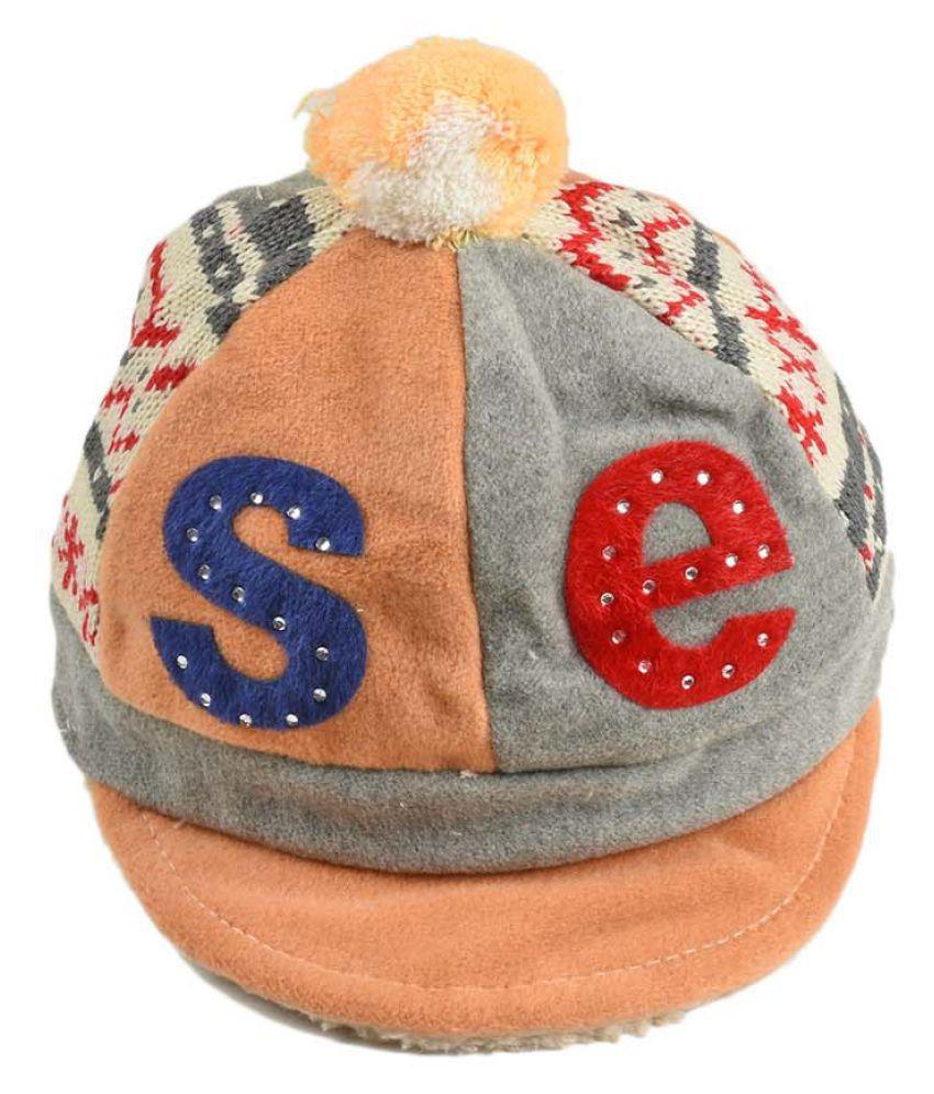 Tiekart Smart Grey Designer Winter Warm Woolen cap for Kids