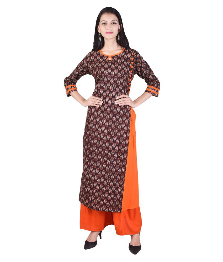 VOJO Brown Cotton Straight Stitched Suit