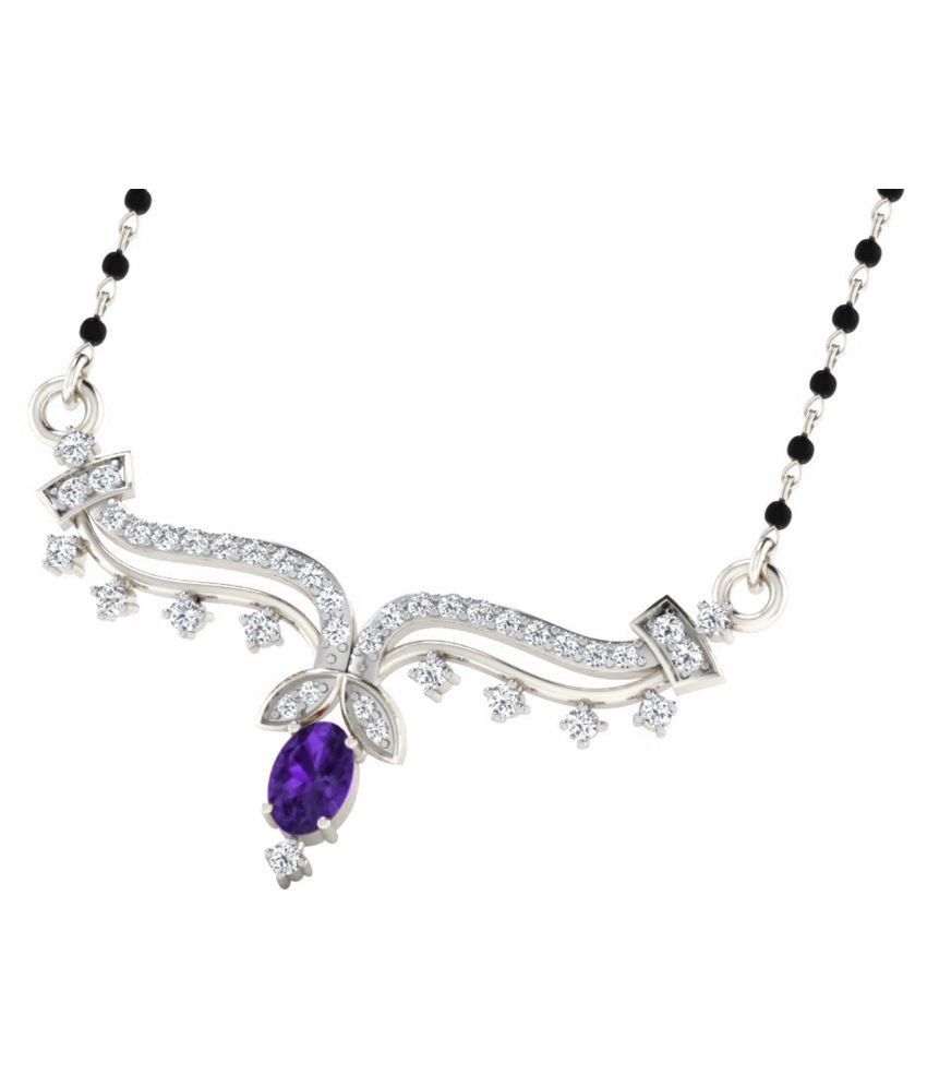 His & Her 9k White Gold Amethyst Mangalsutra