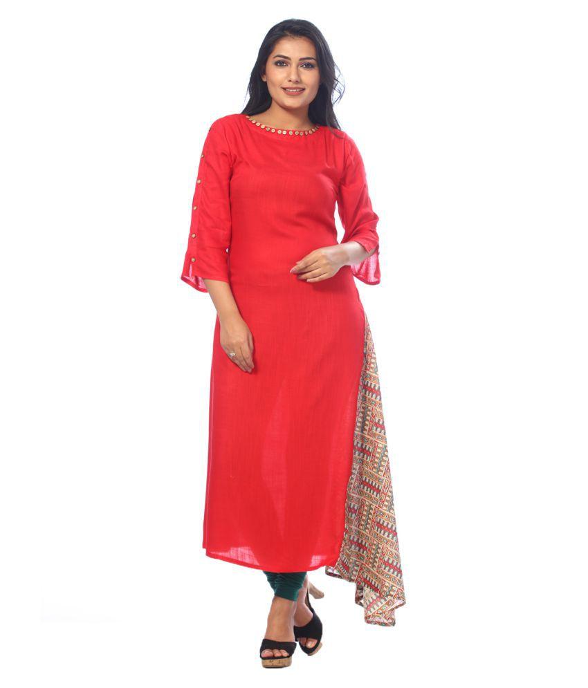 Payal Red Cotton A-line Kurti