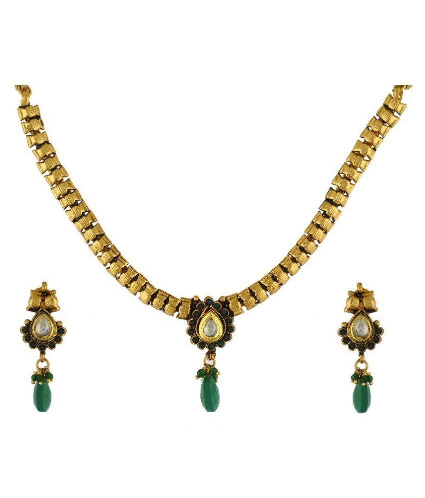 Vama Fashions-Traditional-Indian-Immitation-Fashion-Jewellery-Antique-Gold-Plated-Necklace-Set