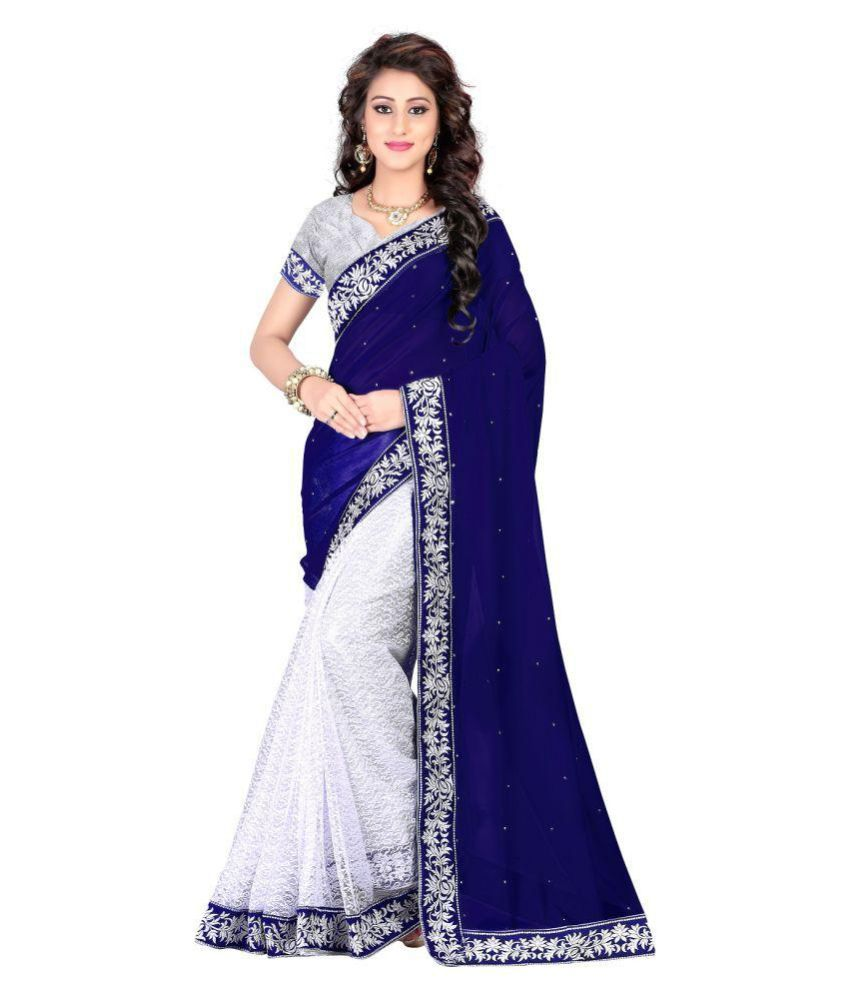 Chakradhar Distributors White and Blue Georgette Saree