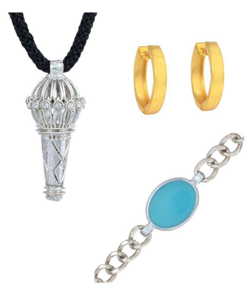 DzineTrendz combo of Salman inspired Bracelet, Bajrangi Pendant and Dabangg hoop bali kundal for Men Boys,