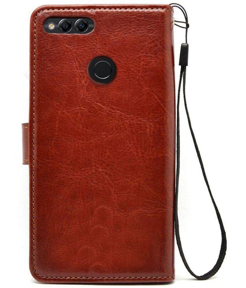 new product 249de 274d2 Huawei Honor 7X Flip Cover by Bracevor - Brown