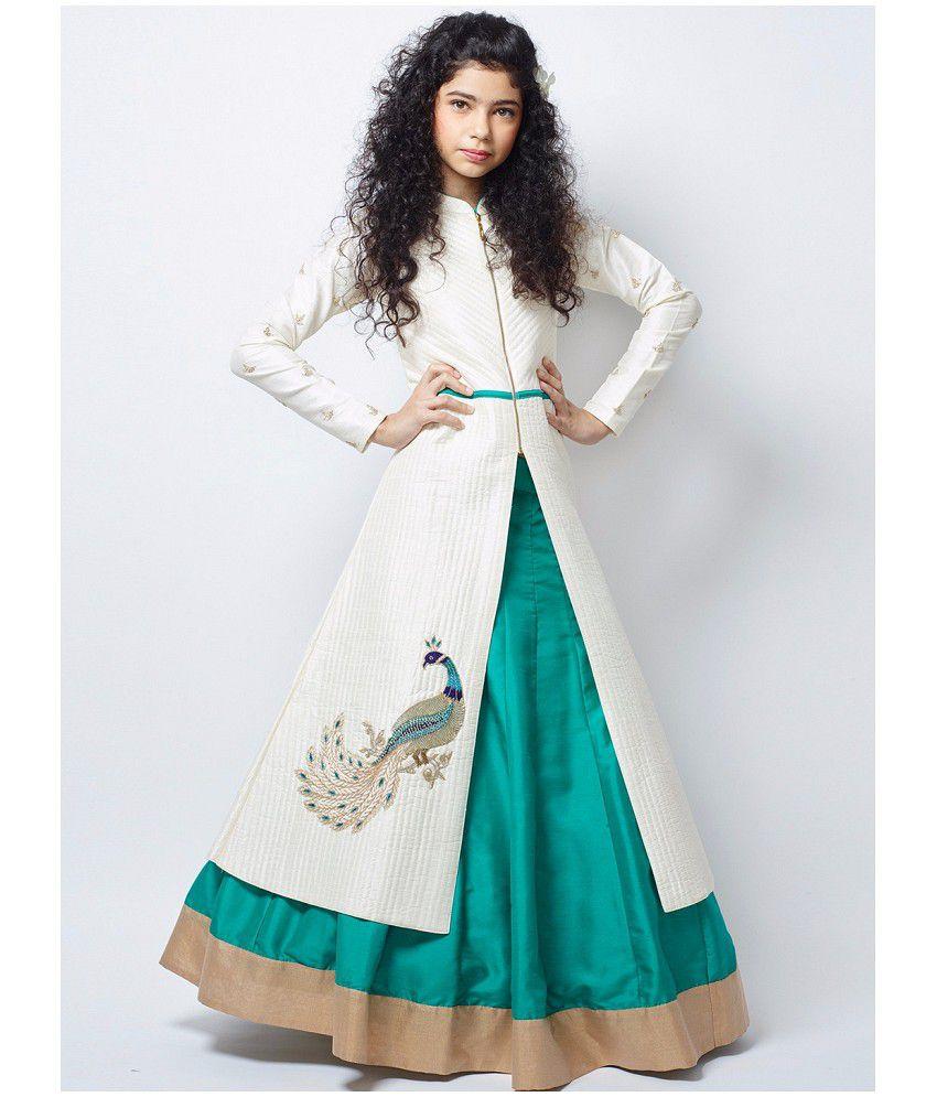 b302bcf429c3bb White Button New Designer Girl s White Foam Sheet Banglori Silk N Sea Green  Indo Western Style ...