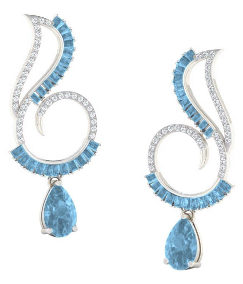 His & Her 92.5 Silver Topaz Drop Earrings