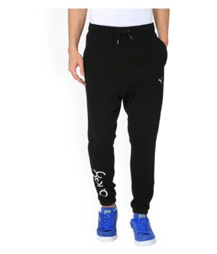 Puma Black Polyester Viscose Trackpants