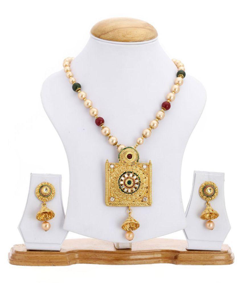Zeneme Designer Red Kundan Polki Pearl Necklace Set With Earring for Women & Girls