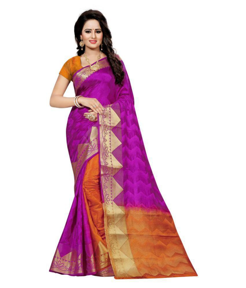 ONLINE FASHION DAYS Magenta Cotton Silk Saree