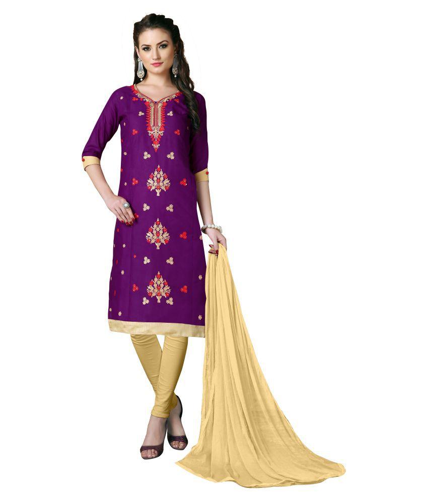 WALKNSHOP Purple cotton Dress Material