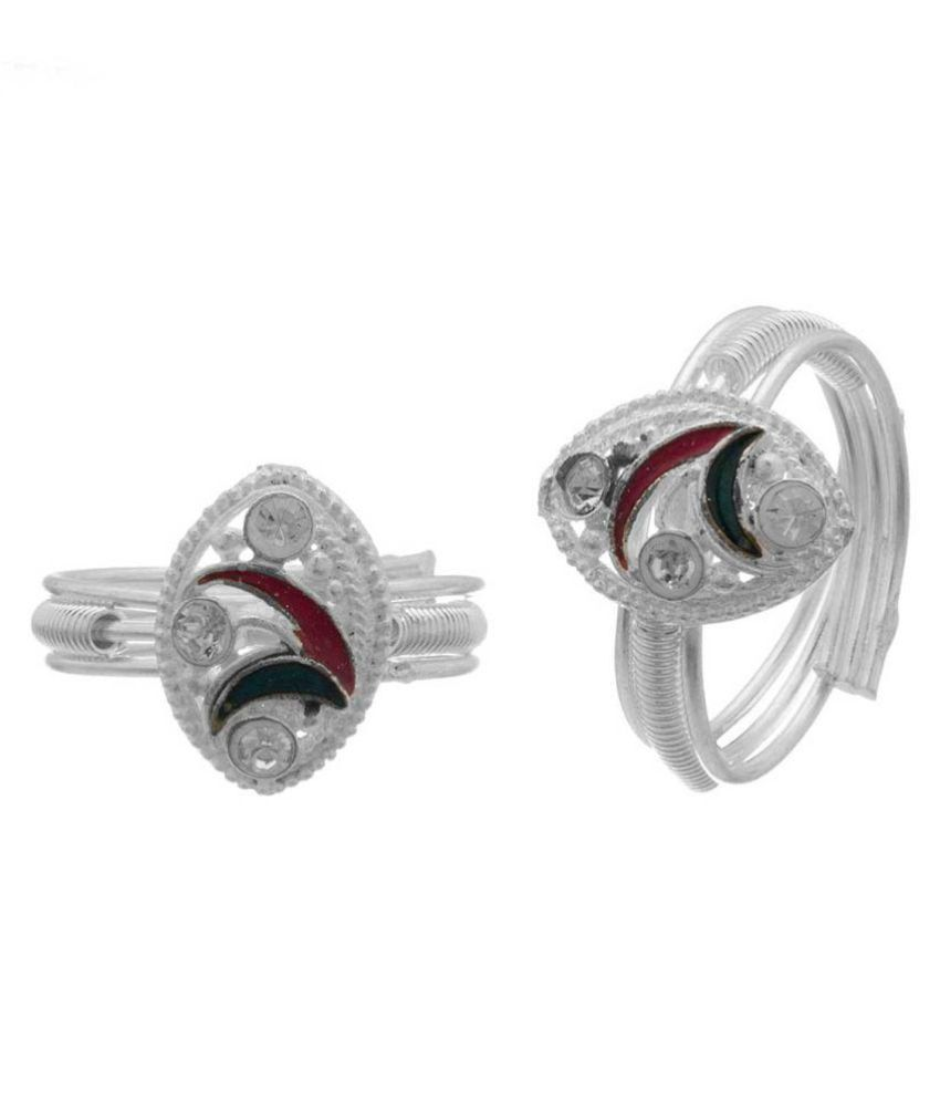 DzineTrendz White Zirconia Sterling Silver coated Green and red meena, triple band toering …