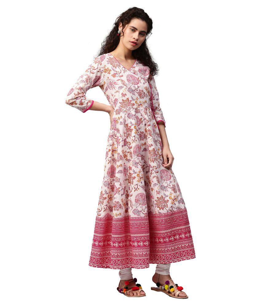 76a0ee66f8d6 Jaipur Kurti Pink Cotton A-line Kurti - Buy Jaipur Kurti Pink Cotton ...