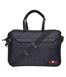 Sky Black Nylon Office Messenger Bag