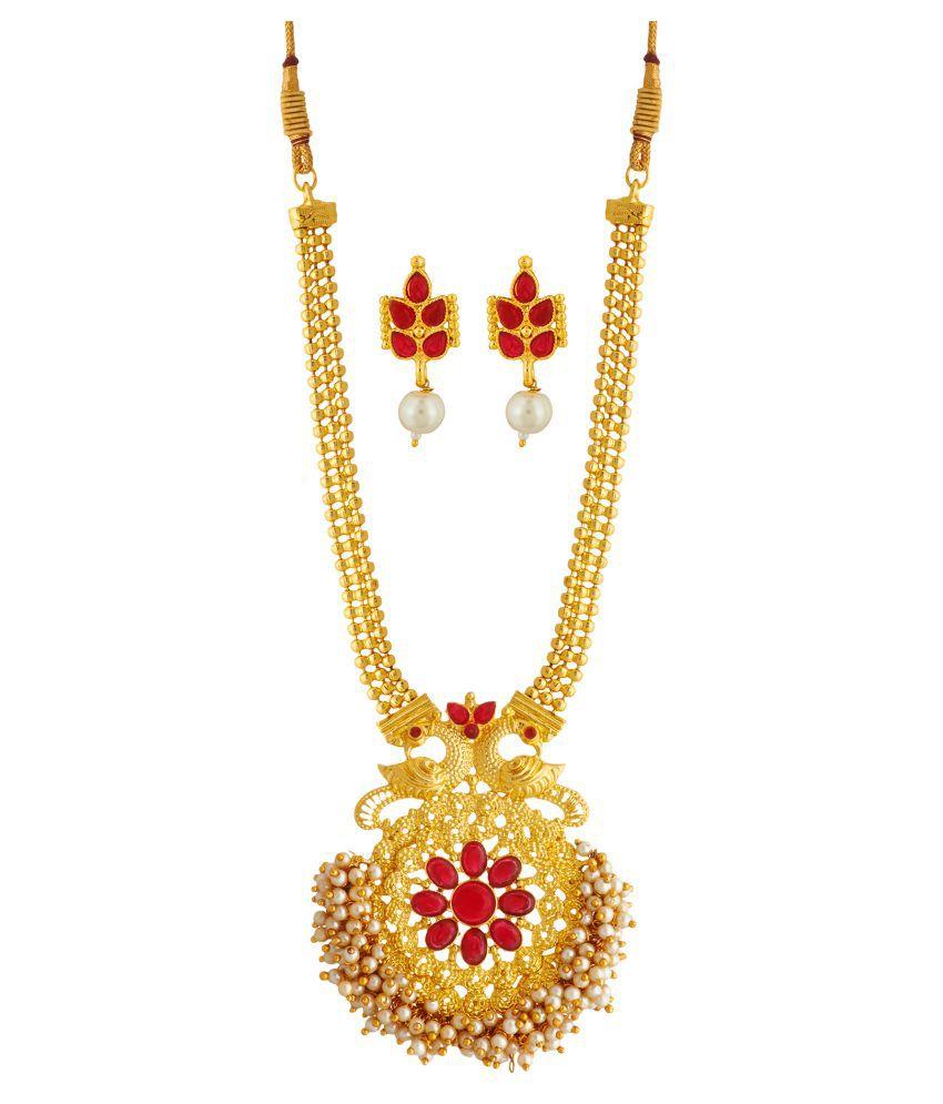 Elakshi Style Diva Red Stone Gold Plated Women Long haram Neacklace Sets