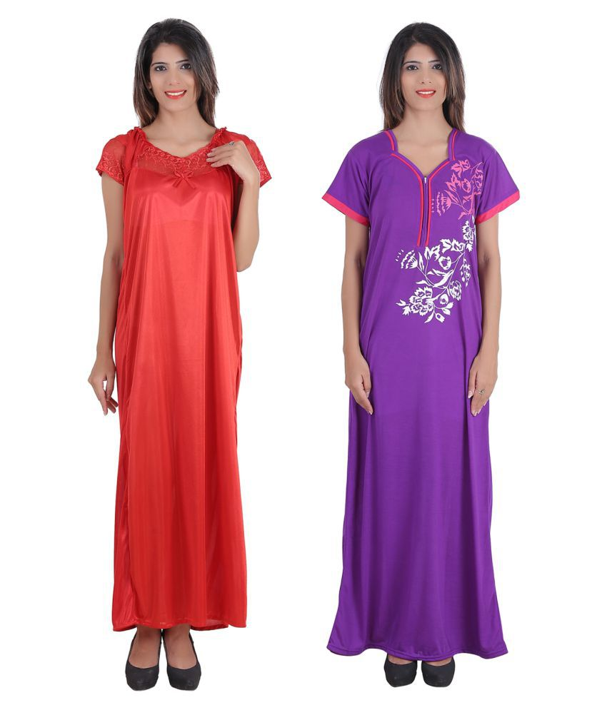 Glossia Satin Nighty & Night Gowns - Multi Color