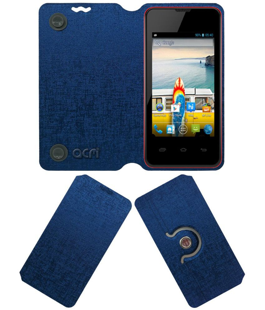Micromax Bolt A58 Flip Cover by ACM - Blue