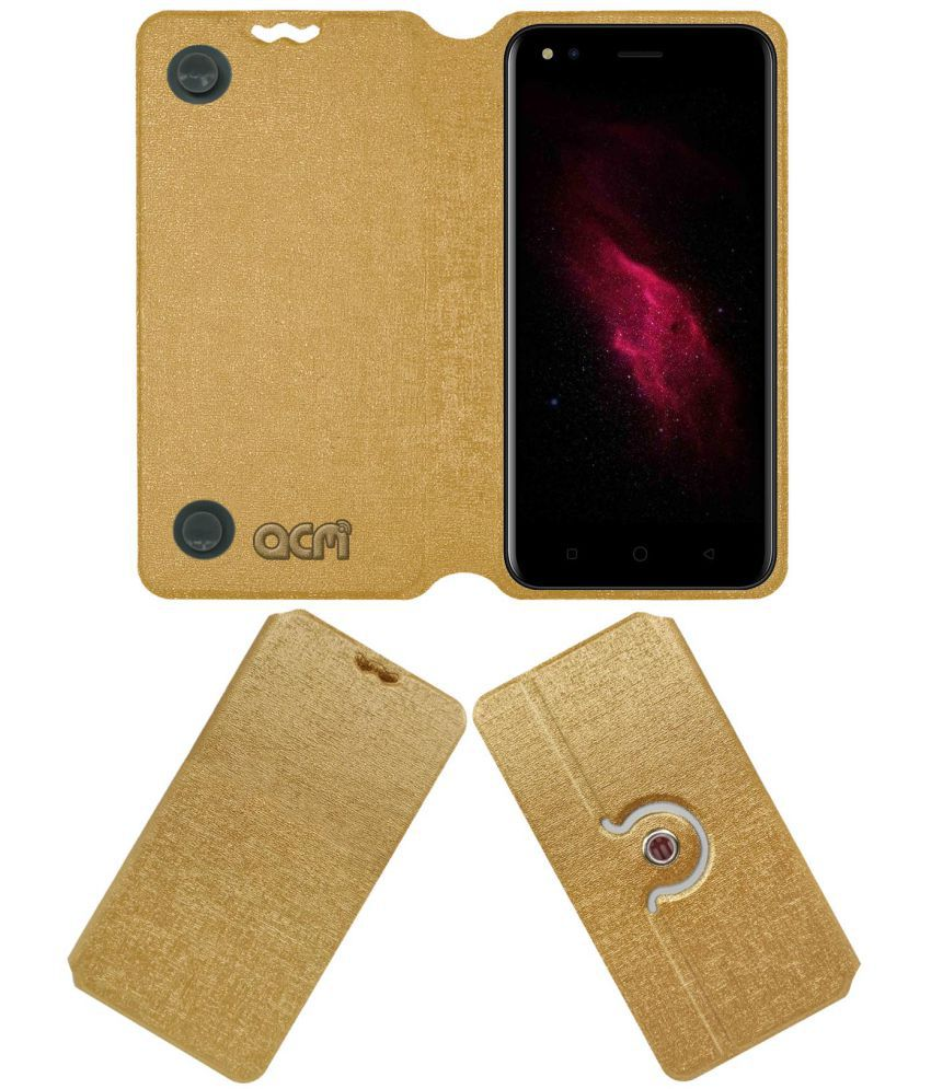 check out 8f764 932a9 Micromax Canvas 1 C1 Flip Cover by ACM - Golden