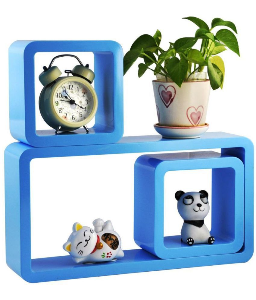 WOOD WORLD Floating Shelf/ Wall Shelf / Storage Shelf/ Decoration Shelf Blue - Pack of 1